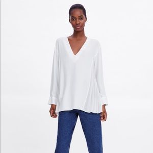 ZARA oversized white blouse